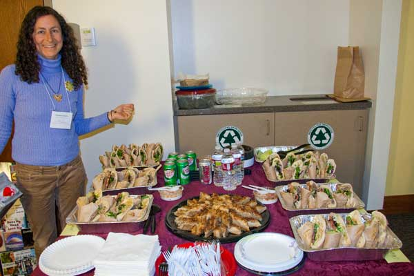 A wonderful luncheon of homemade Palestinian food was donated by Arabesque restaurant in Boulder, Colorado